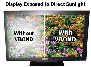 Сравнение обычного дисплея и дисплея с технологией VBOND в условиях прямого солнесного освещения